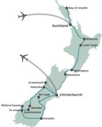 18 Day New Zealand Highlights Tour Map