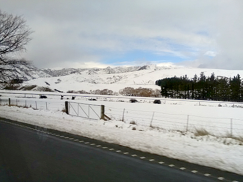 snow on the ranges north of Christchurch