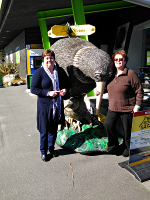 Kim and our friend Paula outside the West Coast Wildlife Centre at Franz Josef