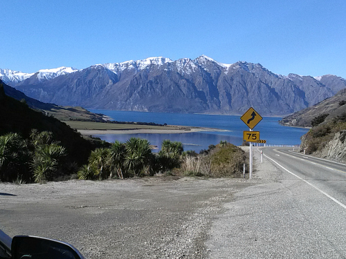 Looking over Lake Hawea from State Highway 6