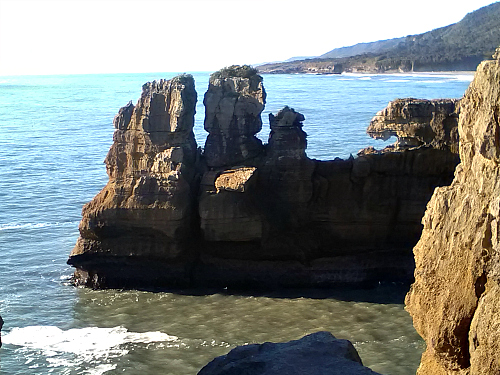 Looking north from Pancake Rocks at Punakaiki