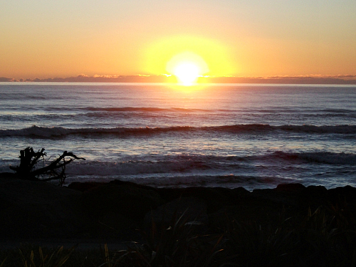 A magnificent West Coast sunset at Punakaiki