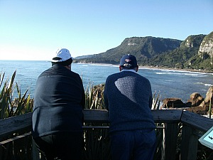 Admiring the view at Punakaiki