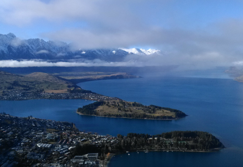 Looking down on Queenstown from the Skyline complex on Bob's Peak