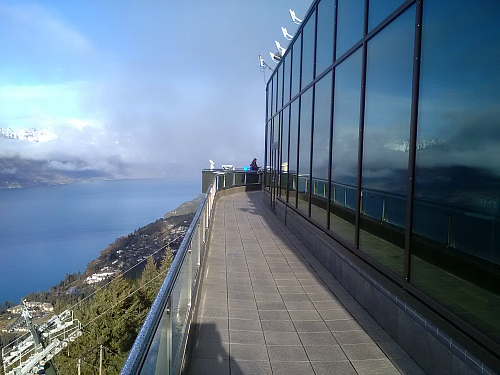 The main viewing deck at the Skyline Gondola complex Queenstown. Awesome views.