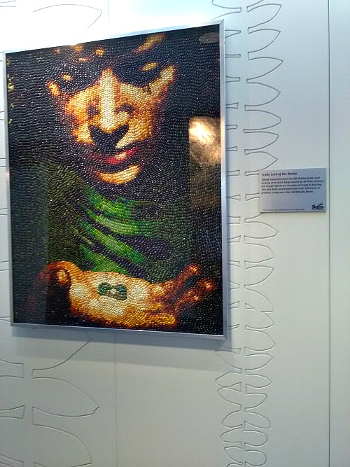 Jelly bean art showing Frodo from Lord of the Rings