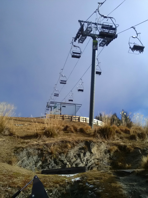 High above Queenstown at the Skyline complex, this chairlift takes you to the top of the luge track.