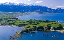 The stunning Kaikoura township flanked by the Seaward Kaikoura ranges