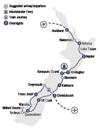 Kirra Tours 20 Day New Zealand Odyssey Map
