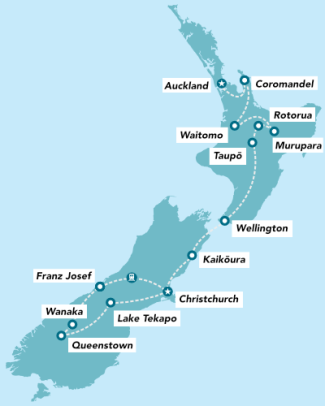 Haka Tours 16 Day Amplified NZ Tour map