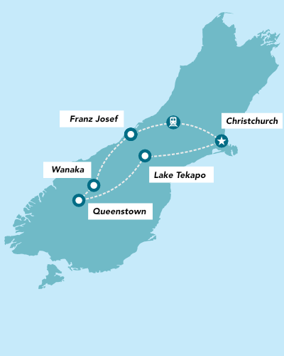 Haka Tours 7 Day South Island Lick Tour map