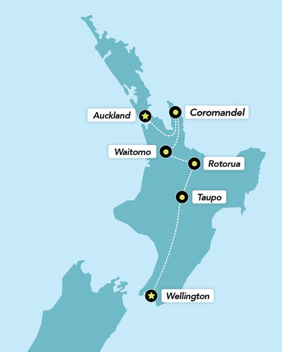 Haka Tours 7 Day North Island Adventure Tour Map