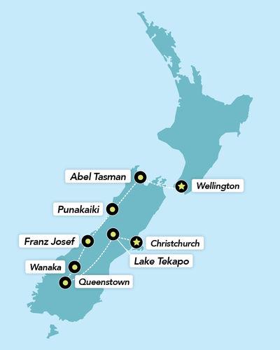 Haka Tours 12 Day South Island Adrenalin Junkie Tour Map