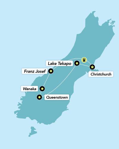 Haka Tours 7 Day South Island Lick Tour Map