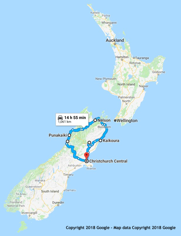 10 Day Top of the South itinerary map