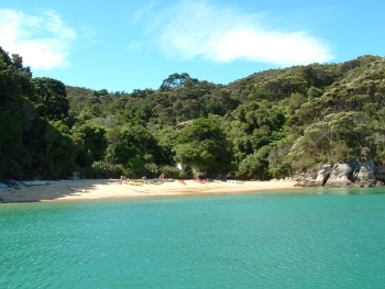 One of the many beautiful bays in the Abel Tasman National Park near Nelson