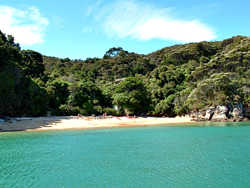 Kayaks on the beach in the Abel Tasman. What a beautiful spot.