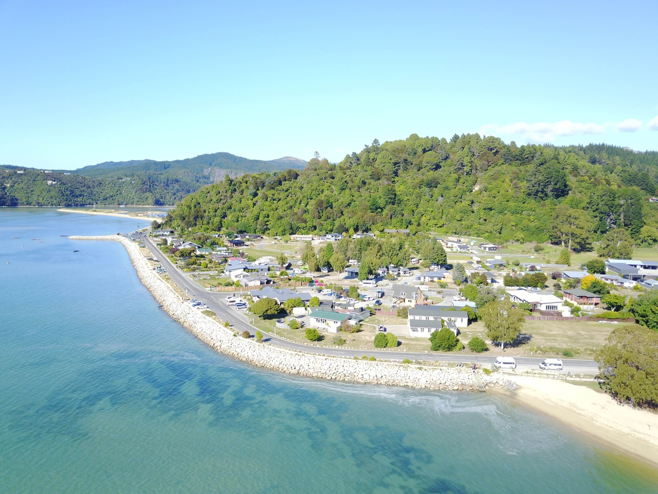 Marahau village and waterfront aerial view pic courtesy abeltasman.com