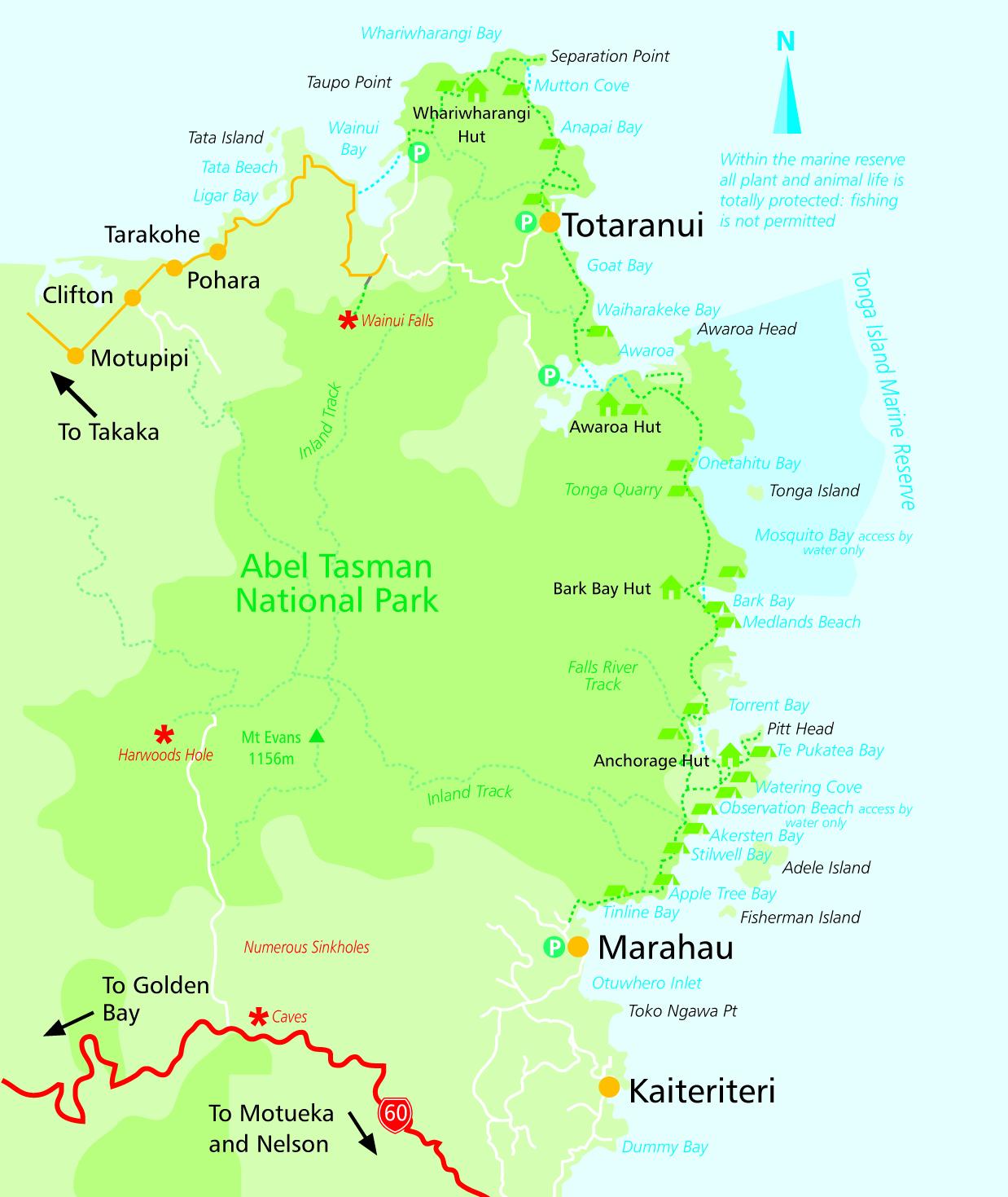 Abel Tasman National Park map courtesy www.abeltasman.nz
