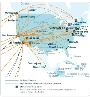 Air New Zealand Americas Flight Map