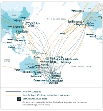 Air New Zealand Asia and Australasia Flight Map