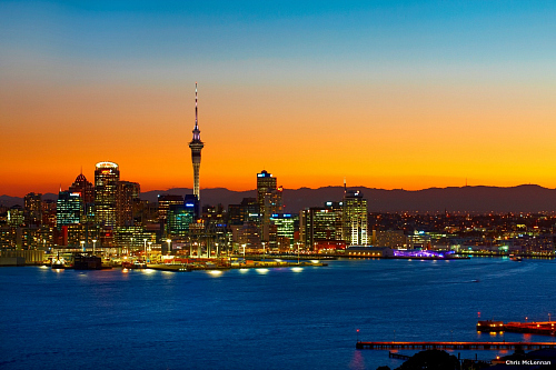 Auckland harbour and the city at dusk - pic courtesy Chris McLennan