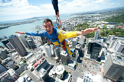 Thrills galore on Sky Jump from Auckland's Sky Tower - pic courtesy Mark Downey