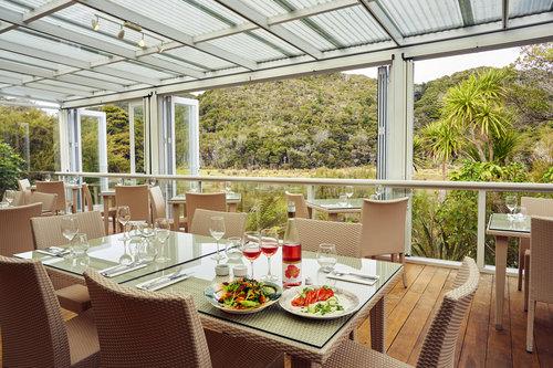 Conservatory and dining area at Awaroa Lodge - pic courtesy Awaroa Lodge