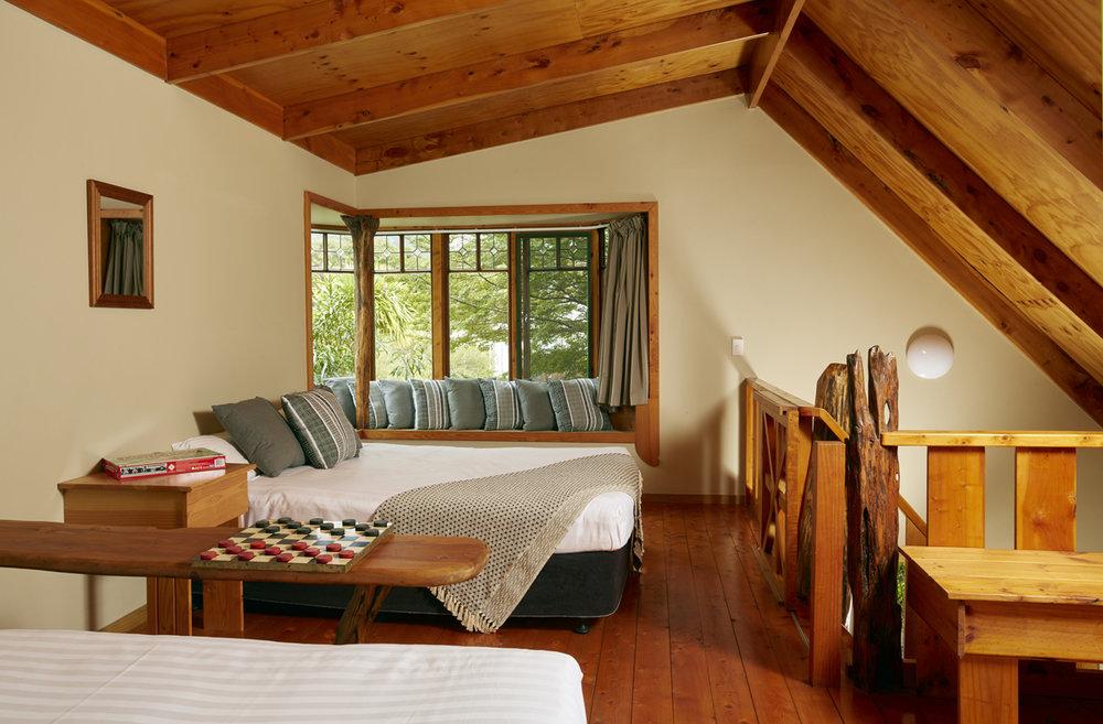 Awaroa Lodge Family Room mezzanine - pic courtesy Awaroa Lodge