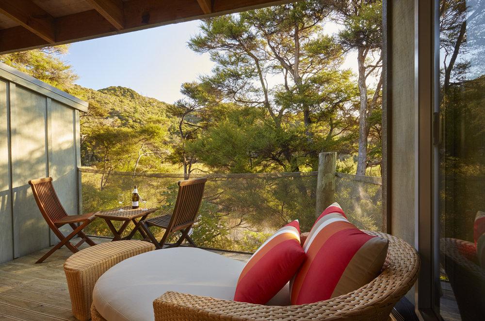 Awaroa Lodge Superior Suites balcony - pic courtest Awaroa Lodge