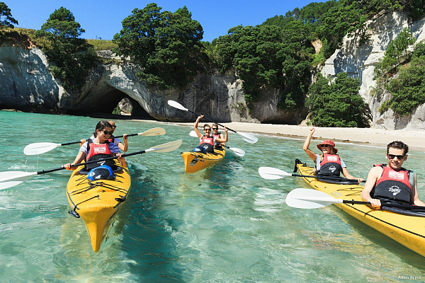 Kayaks in the Coromandel - pic courtesy Adam Bryce