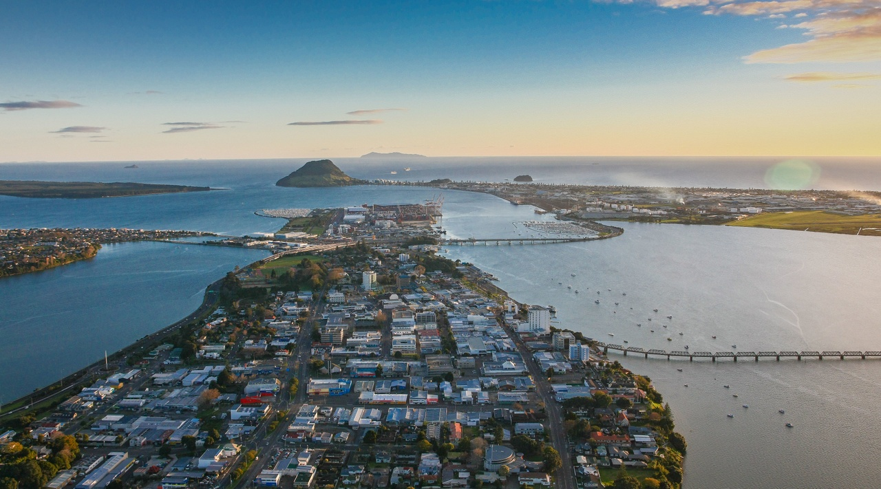 Aerial view of Tauranga - picture courtesy  Bay of Plenty Tourism