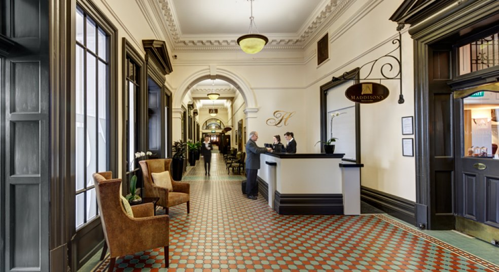 The beautiful lobby in the Heritage Christchurch