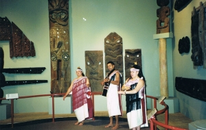 Maori cultural performance and carvings at Christchurch Museum