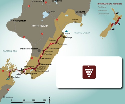 New Zealand Route Map.Classic New Zealand Wine Trail 10 Day New Zealand Itinerary