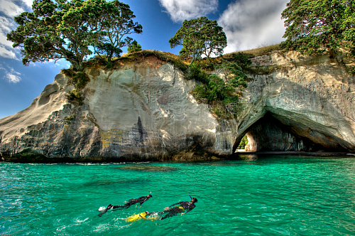 Snorkeling at Cathedral Cove - pic courtesy Tourism Coromandel