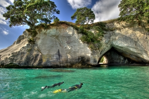 Snorkelling at Cathedral Cove picture courtesy Tourism Coromandel