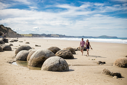The unusual Moeraki Boulders on the South Island's east coast - pic courtesy Miles Holden
