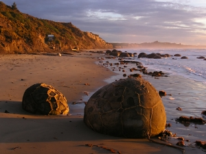 The unusual Moeraki Boulders on the South Island's east coast
