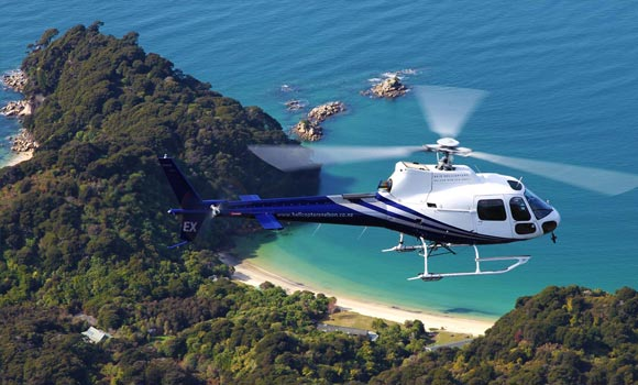 Helicopter over the Abel Tasman - pic courtesy Edenhouse
