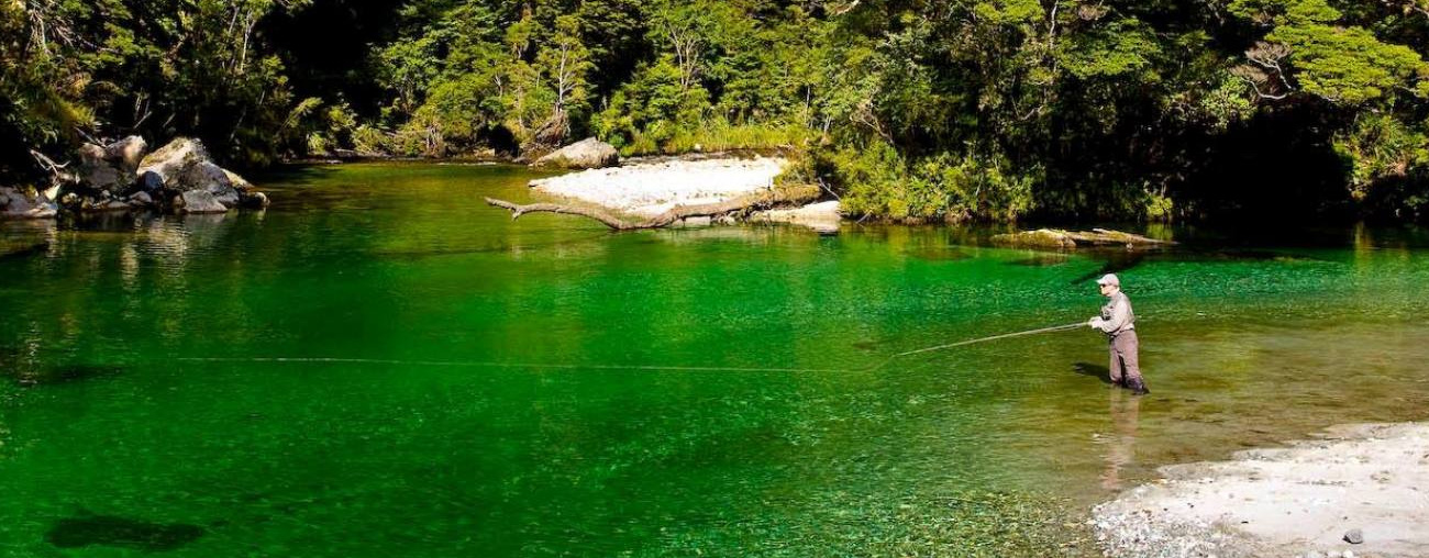Fly fishing in the waters of Fiordland - pic courtesy Fiordland Lodge