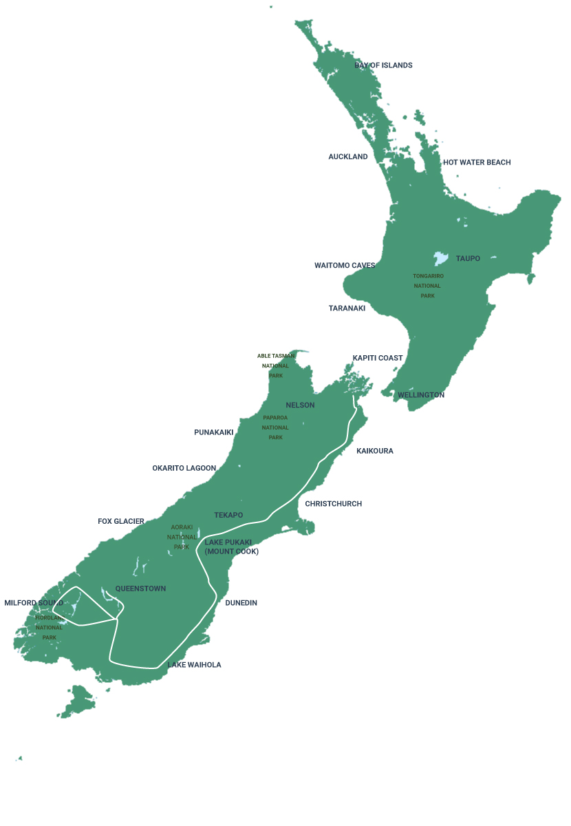 Flying Kiwi Southern Light Map