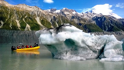 Exploring on the lake near Tasman Glacier with Glacier Explorers - pic courtesy Glacier Explorers