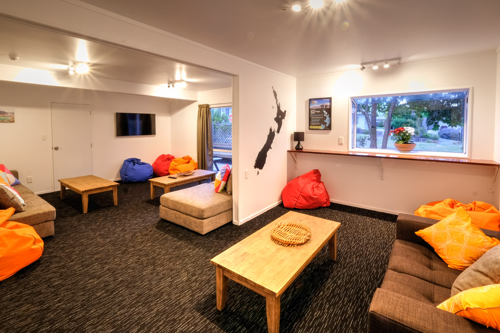The spacious comfortable lounge at Haka Lodge Taupo