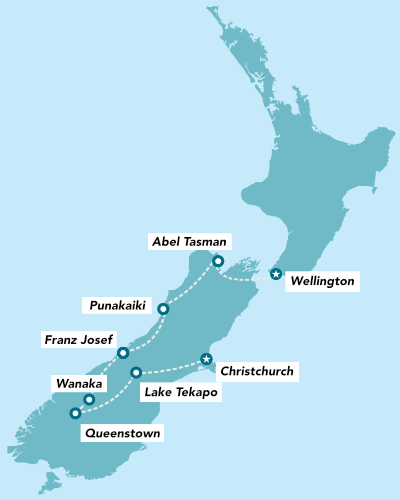 Haka Tours 12 Day South Island Adrenalin Junkie Tour map