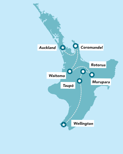 Haka Tours 7 Day North Island Adventure Tour map