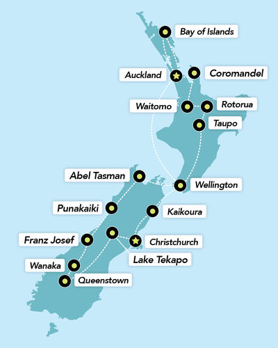 Haka Tours 24 Day Epic NZ Tour map