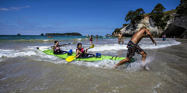 Haka Tours fun at Cathedral Cove