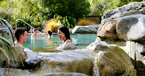 Relaxing in the thermal pools at Hanmer Springs - pic courtesy www.hanmersprings.co.nz