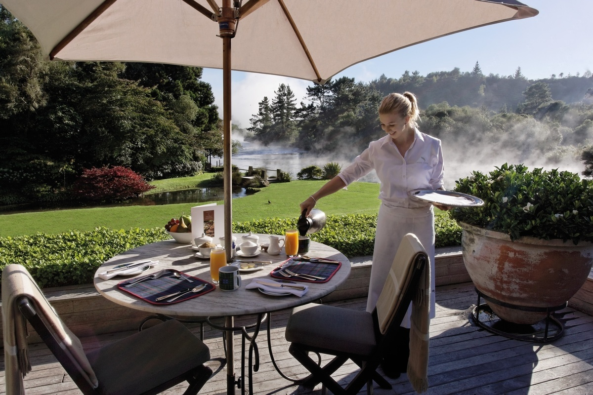 Breakfast dining on the main terrace - pic courtesy Huka Retreats